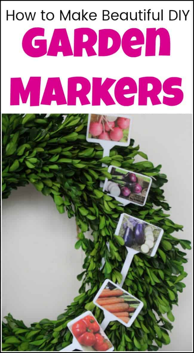 Love to garden? See how easy it is to make your own garden markers. These DIY garden markers are like name tags for your plants. Your garden labels allow you to label and tag your herbs and vegetables in a decorative way. Plant tags that are both cute and functional. #gardenmarkers #diygardenmarkers #gardenlabels #plantmarkers #gardenplantmarkers