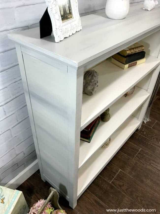 painted white bookcase, painted bookcase, painting laminate furniture, how to paint laminate furniture
