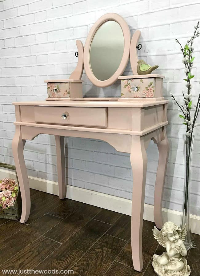 girls pink vanity, little girls vanity, painted vanity, painted makeup vanity, kid play vanity
