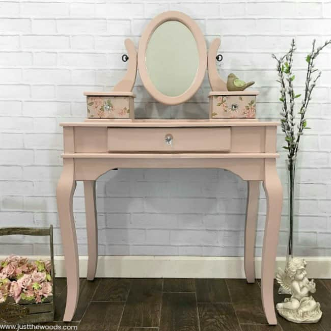 pink painted furniture, pink wooden vanity, little girls vanity makeover