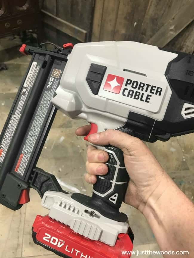 porter cable, brad nailer, cordless nailer, power nailer, diy tools, battery power nailer, nailer in hand