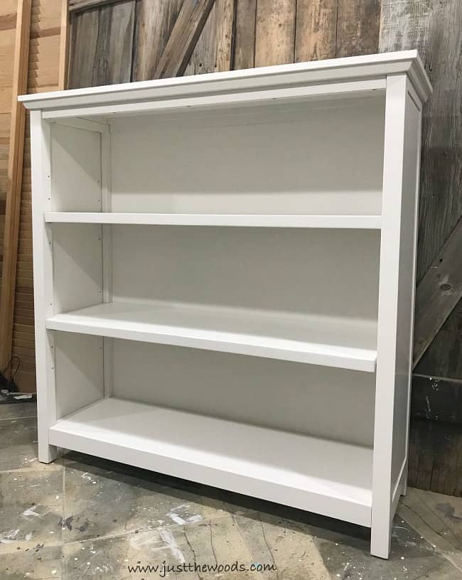 pottery barn bookcase, cameron bookcase, white bookcase, painting laminate furniture