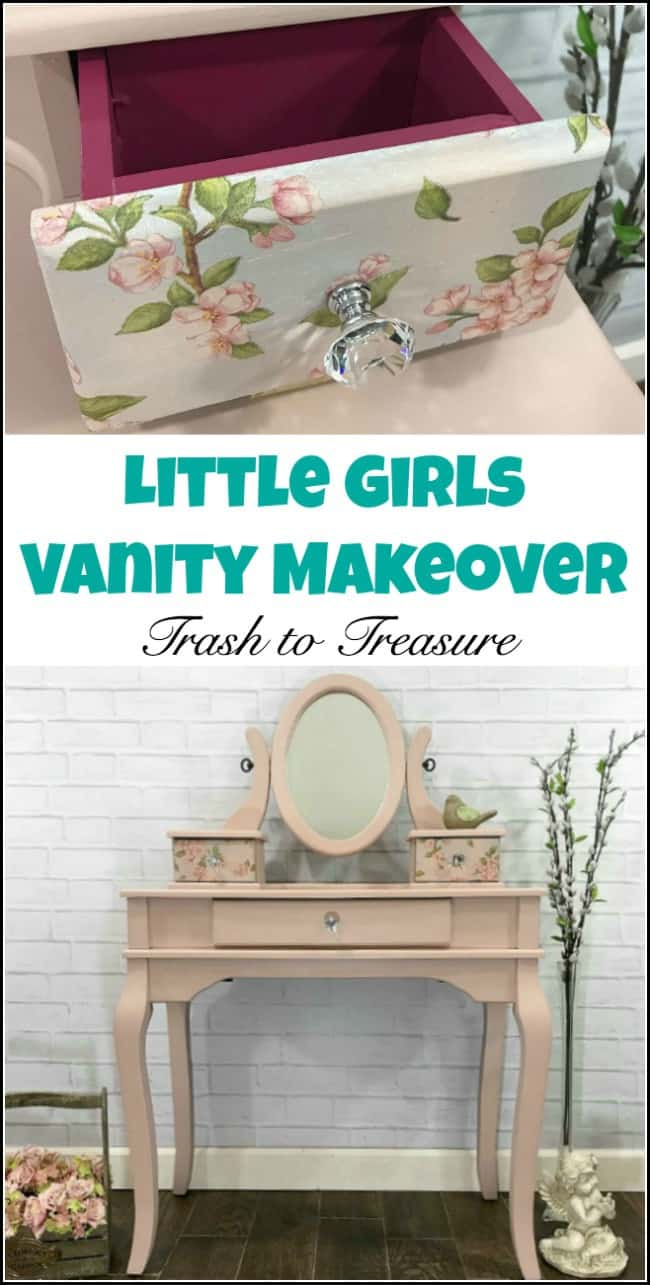 A curbside find transformed into something beautiful for a little girls play vanity. Painted furniture to the rescue to save this little girl vanity table. With some paint, decoupage and new hardware this girls vanity is a beauty. See how to transform your old furniture for a like new little girls vanity. #paintedfurniture #littlegirlsvanity #paintedfurniturebeforeandafter #paintedfurnituremakeover #girlsvanity #girlsvanitytable #decoupage