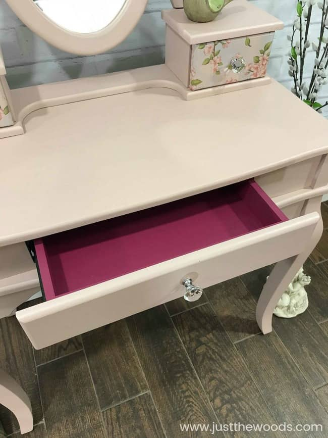 little girls vanity, girls vanity, pink painted vanity, paint inside drawers