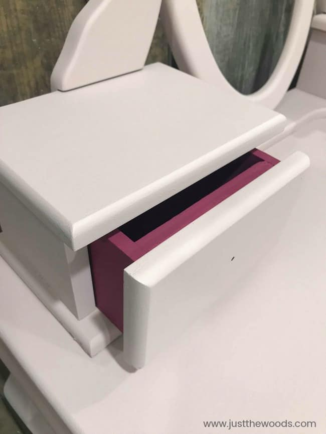 hot pink painted furniture, pink painted furniture, little girl vanity, play vanity for girl, childrens makeup vanity