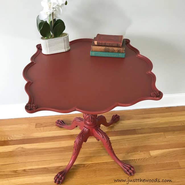 black glaze on red chalk paint, red painted table with black wax, dark wax