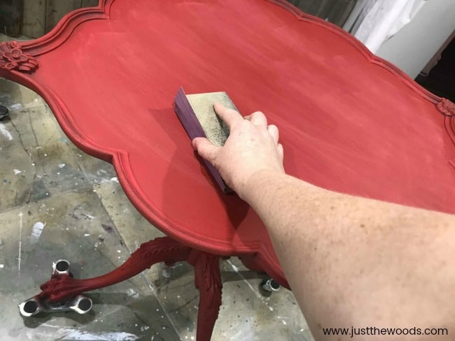 sanding between coats, painting furniture, red painted furniture
