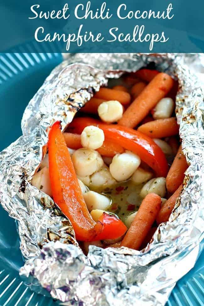 chili coconut campfire scallops, Campfire Dinner Recipes, easy camping dinners, best campfire recipes