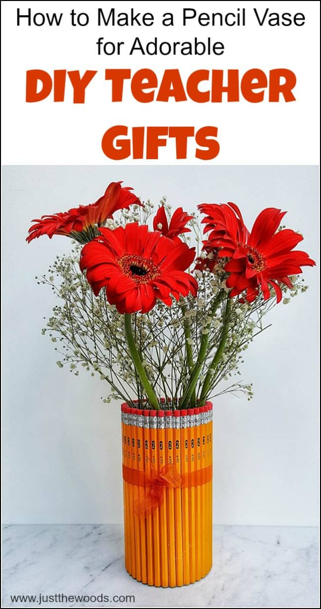 Show the teacher your appreciation with DIY teacher gifts. This cute and easy pencil vase makes great homemade gifts for teachers. Fill it with a gorgeous bouquet of flowers for a unique yet inexpensive end of year teacher gift. #diyteachergifts #cheapteachergiftideas #pencilvase #DIYVase #homemadegiftsforteachers #cuteteachergifts #easyteachergifts