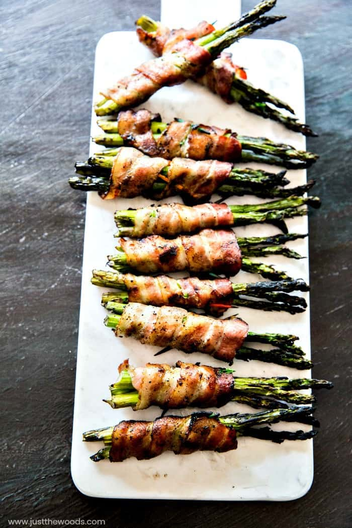 bacon wrapped asparagus over charcoal, homeright electro light