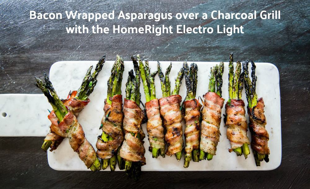 Bacon Wrapped Asparagus Over a Charcoal Grill  with homeright electro light