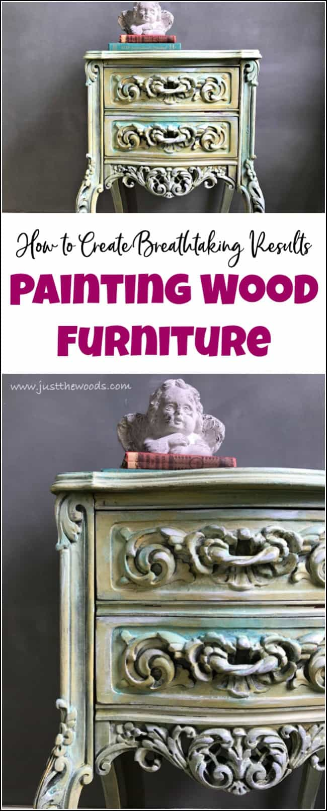 Painting wood furniture can completely transformthe appearance of a piece of furniture. As long as you know how to paint wood furniture the possibilities are endless. See how to transform wooden furniture with the best furniture paint. Layering paint and patina are gorgeous painting wood furniture ideas. #paintedfurniture #paintingwoodfurniture #furniturepaint #howtopaintwoodfurniture
