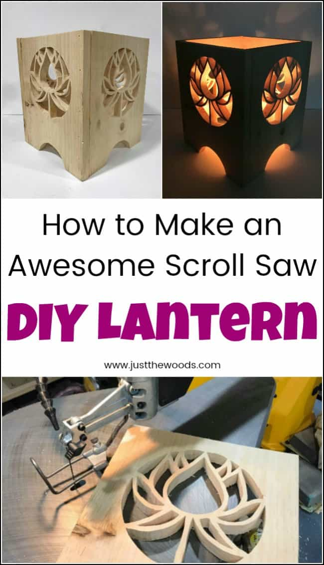 Light up your home or your yard with this DIY lantern project. See how to make a lantern with a scroll saw. Pick a lantern pattern and get creative. Build your own unique wooden lanterns in any style you like. #diylantern #howtomakealantern #powertoolchallenge #woodenlantern #diylanternideas #woodencandlelanterns #diylanterns