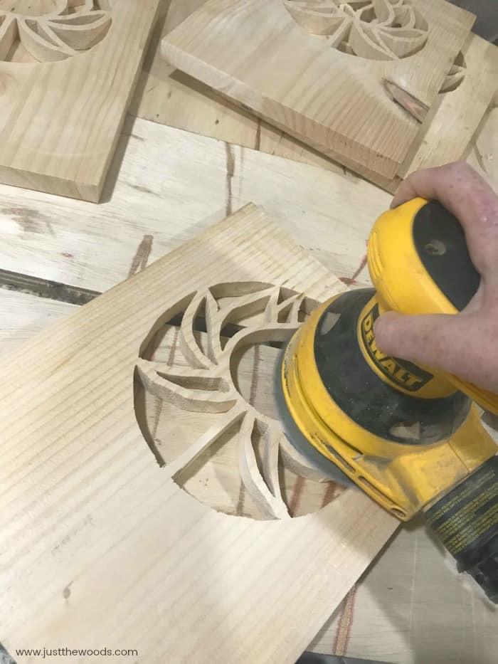 dewalt sander, orbital sander, sanding indoors, diy lantern, woodworking project