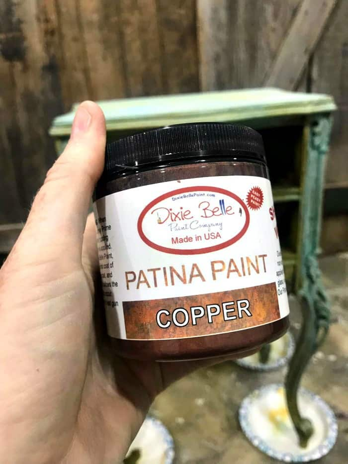 patina paint, copper paint, painting with patina, Painting Wood Furniture