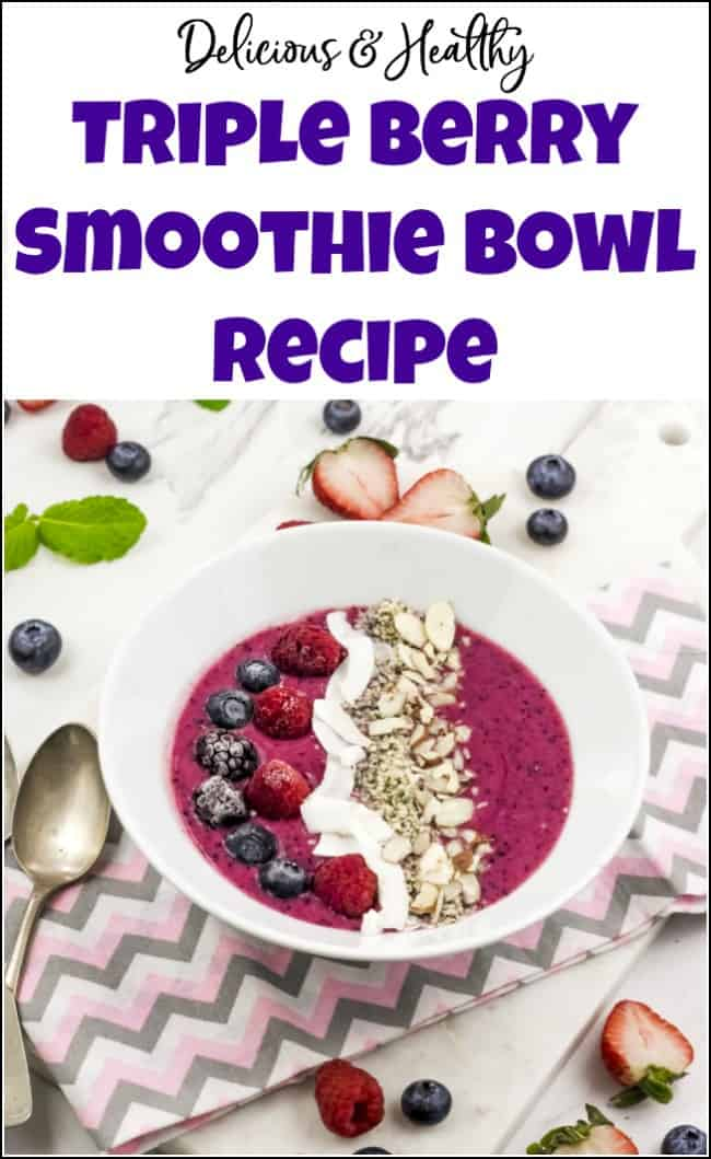 Delicious and healthy smoothie bowl recipe for when you want a smoothie but need a little something more. This simple and easy smoothie bowl recipe will fill you up without weighing you down. See how to make a smoothie bowl that you will love. #smoothiebowls #smoothiebowlrecipe #smoothiebowl #smoothiebowlrecipes #berrysmoothiebowl