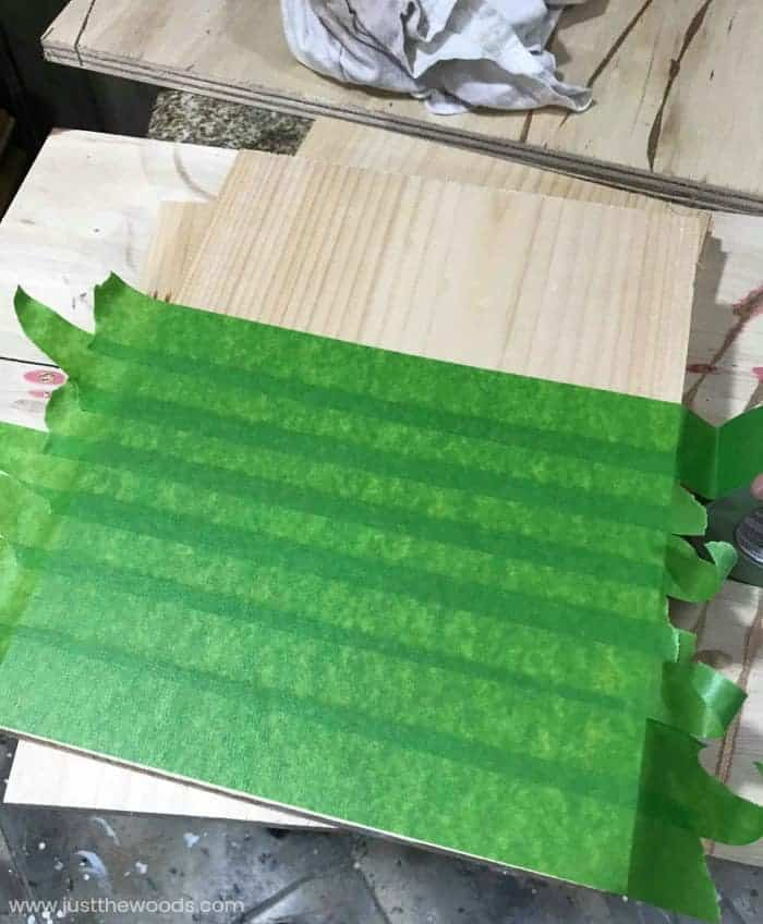 frog tape on wood, diy lantern, how to make a lantern