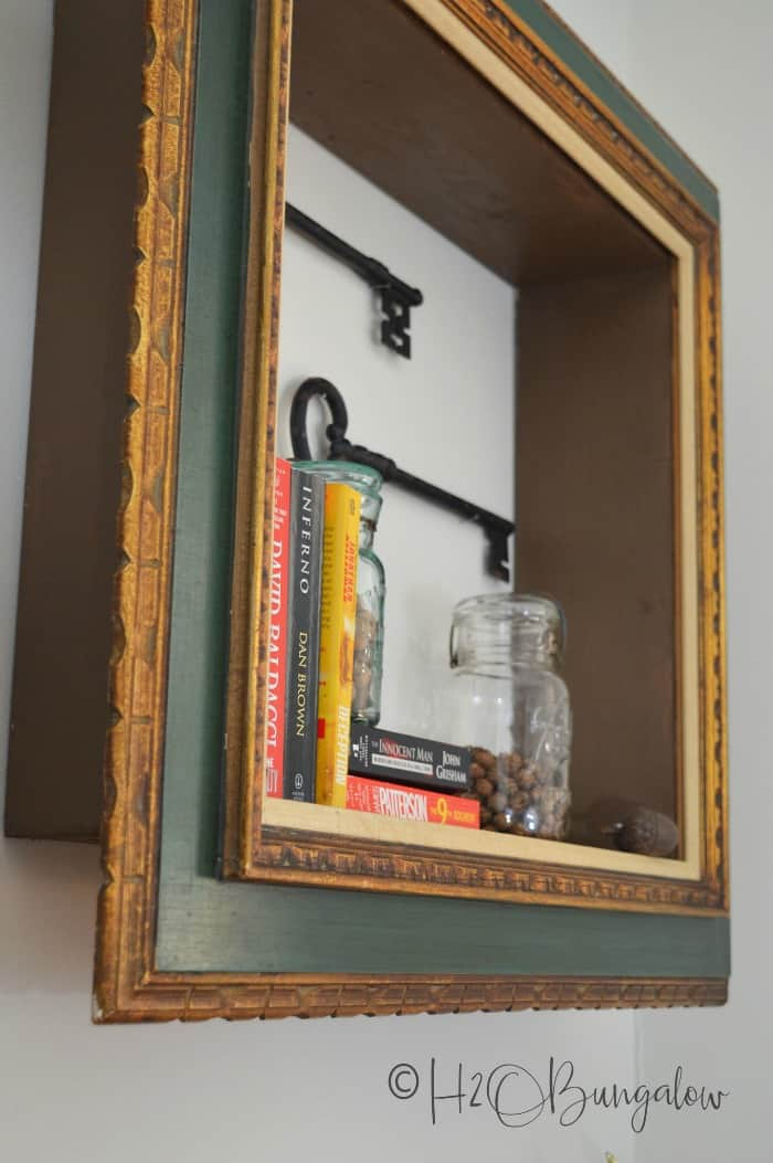 repurposed frame, wall shelf