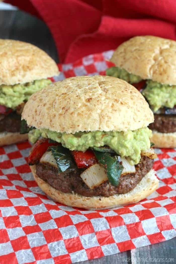 grilled fajita burger, summer grilling ideas, healthy grilling recipes