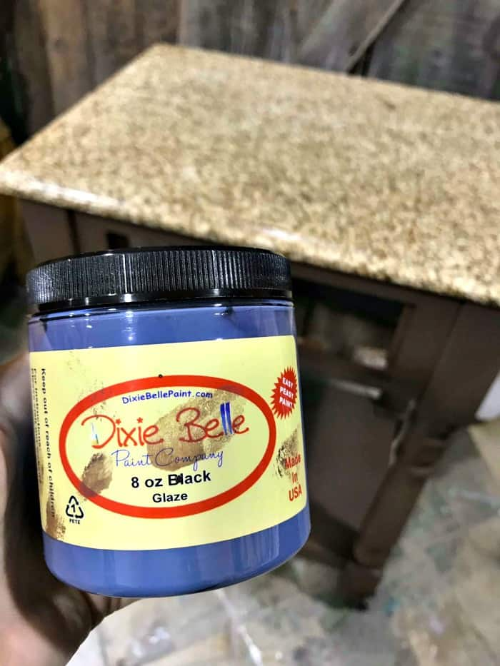 dixie belle glaze, black glaze, adding glaze over chalk paint, distressed furniture