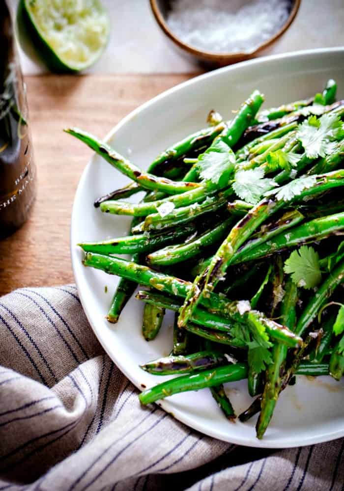 grilled charred green beans recipe, summer grilling ideas