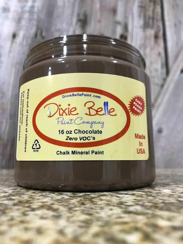 dixie belle chalk paint, chocolate paint, non toxic paint, furniture paint