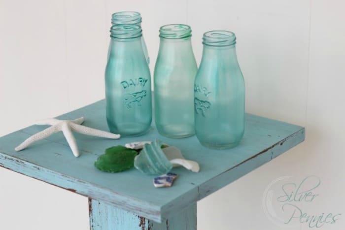 mod podge on glass, glass mod podge, sea glass diy, diy mod podge