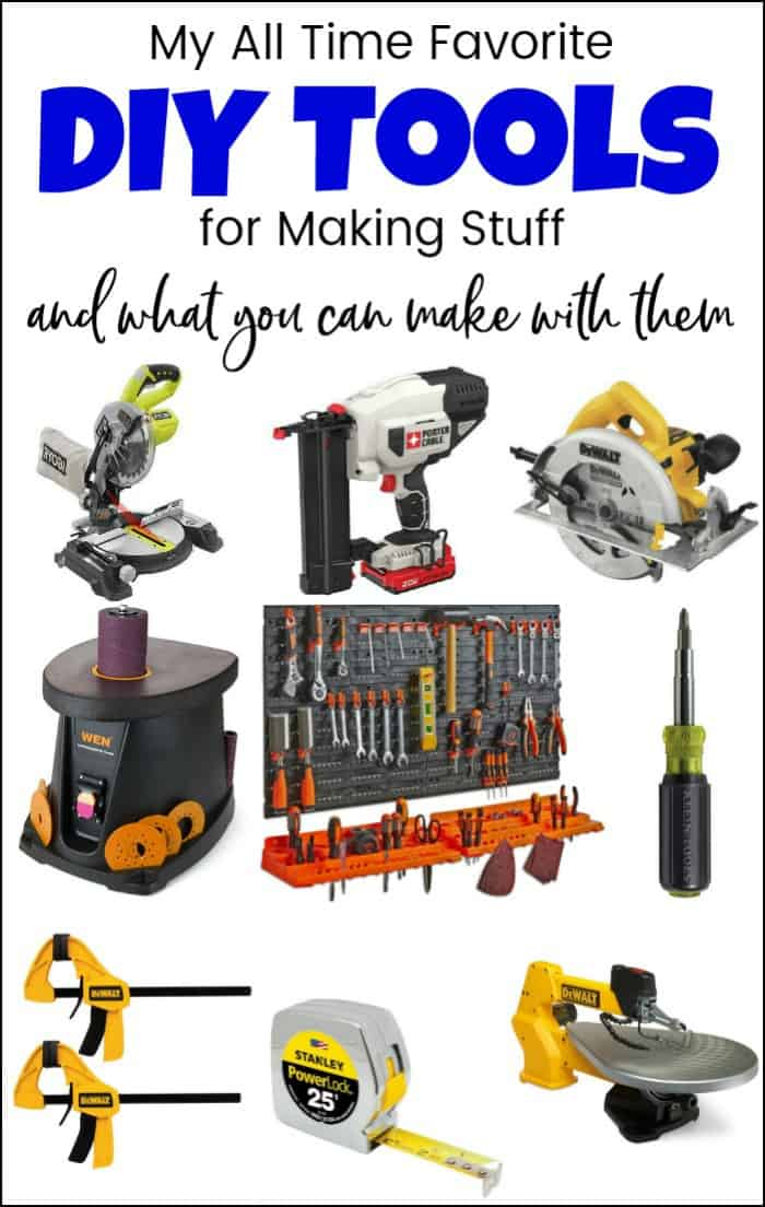 DIY tools can be fun and necessary in any home. Whether you are a beginner looking for a household tool kit, or ready to dive in with a full power tool set. This power tools list of essential tools will help get you ready for your next project. These are my must-have tools for DIY and a wide variety of inspiration and tutorials to inspire you. #diytools #powertoolslist #essentialtools #musthavetoolsforDIY #powertoolset #essentialtoolsforhome #musthavetools #woodworkingtools