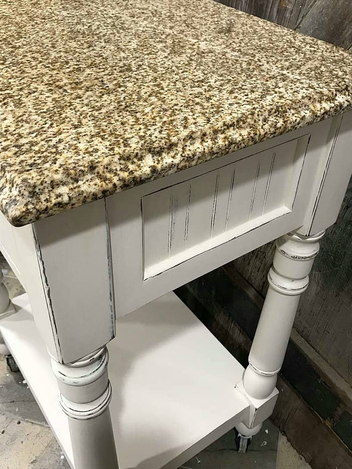 distressed furniture, distressed wood, white distressed painted furniture, stone top table
