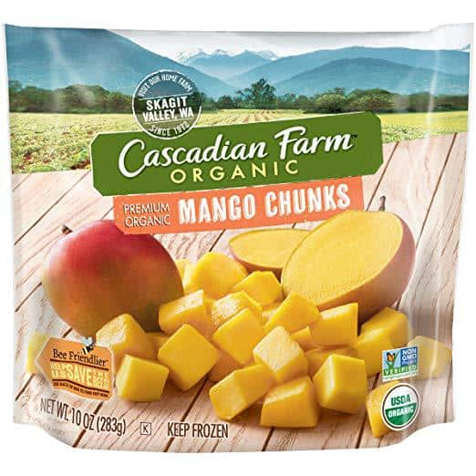 cascadian farms organic frozen mango chunks, mango pineapple smoothie, frozen mango, mango smoothie recipe, organic smoothie