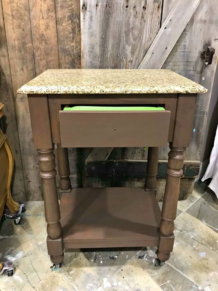 brown chalk paint, brown wood kitchen cart, mobile cart for kitchen, stone top cart