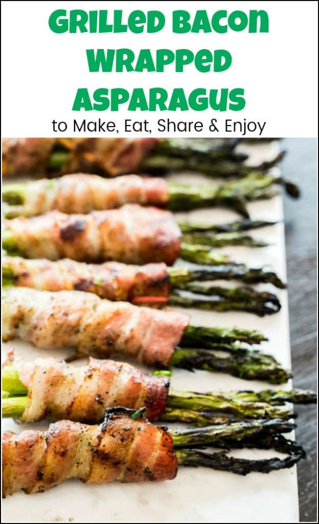 Delicious grilled bacon wrapped asparagus recipe to impress your guests and satisfy your taste buds because everyone loves bacon. #baconwrappedasparagus #baconwrappedasparagusrecipe #homeright #electrolight #grilledasparaguswithbacon #baconasparagus