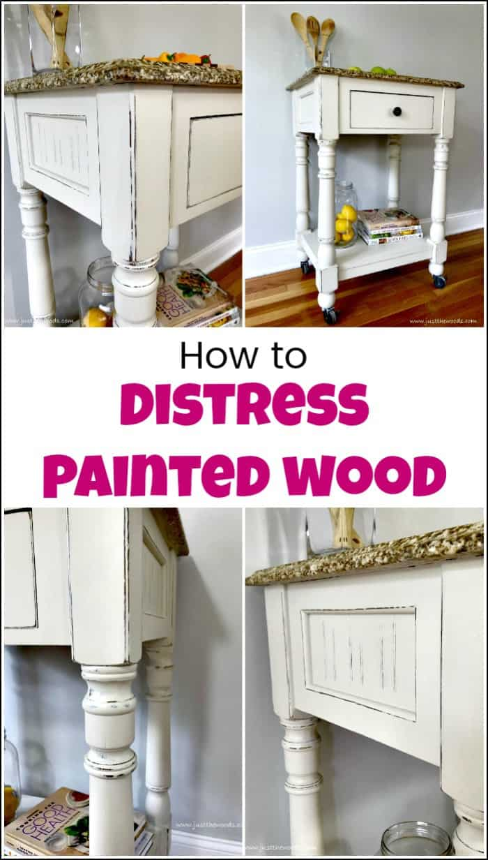 See how to distress painted wood for a farmhouse finish when you love distressed furniture. You can DIY your own distressed white furniture when distressing chalk paint with these simple steps. Video tutorial included. #paintedfurniture #howtodistresspaintedwood #distresspaintedwood #distressedfurniture #paintedkitchencart #distresswhitepaintedwood