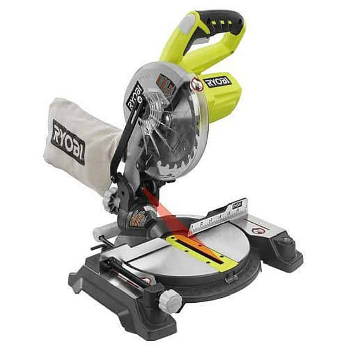 miter saw, ryobi saw, miter saw with laser, green miter saw, diy tools, power tools, must have tools