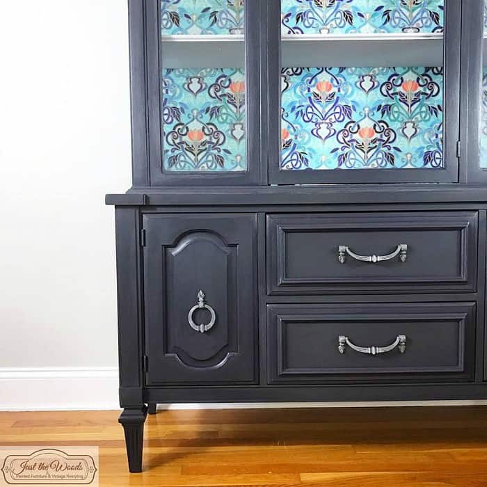 painted furniture mod podge, fabric decoupage, china cabinet decoupage, mod podge projects