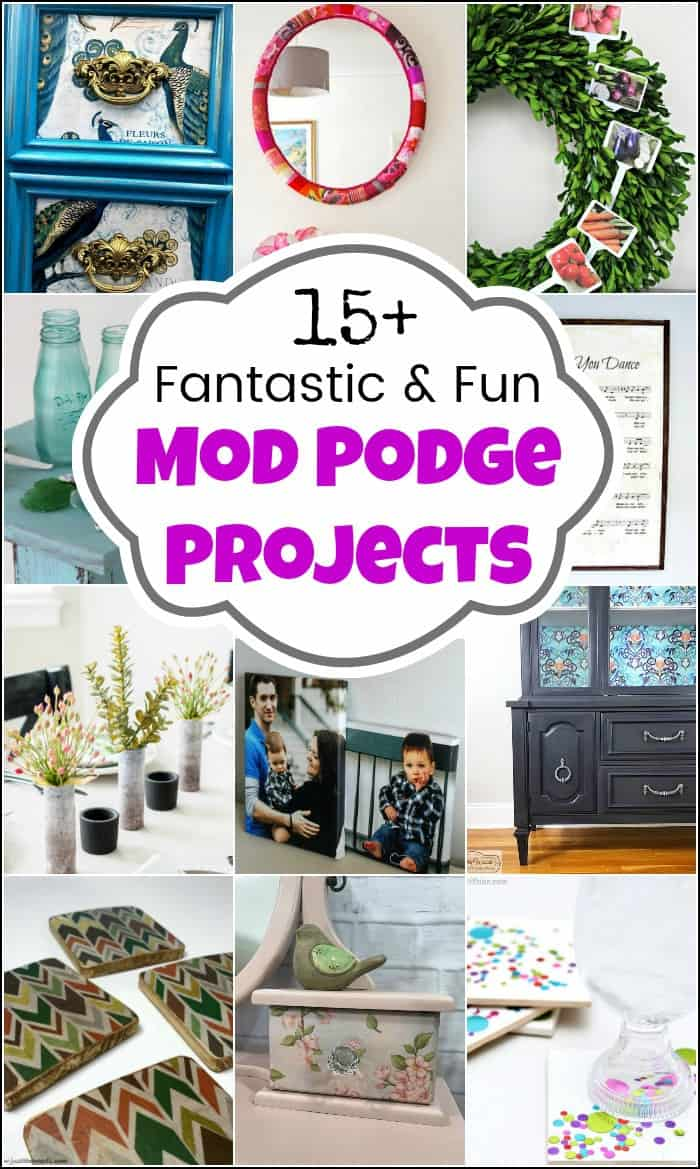 Mod podge projects and endless ideas. Create decoupage furniture makeovers with mod podge glue or unique upcycles with mod podge. #modpodge #modpodgeprojects #modpodgedecoupage #whatismodpodge