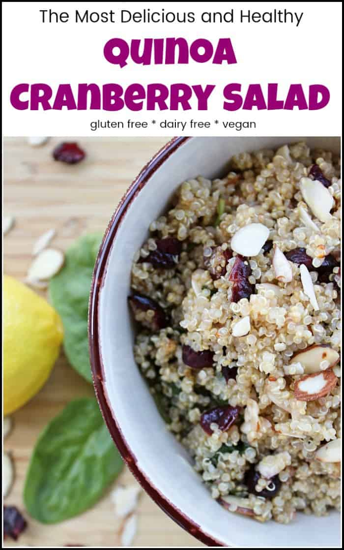 A delicious and healthy quinoa cranberry salad made with gluten-free quinoa and dried cranberries. This quinoa salad is packed with healthy superfoods including spinach, almonds, and lemons. #quinoacranberrysalad #quinoarecipe #quinoaanddriedcranberries #quinoasaladcranberries #quinoasaladrecipes