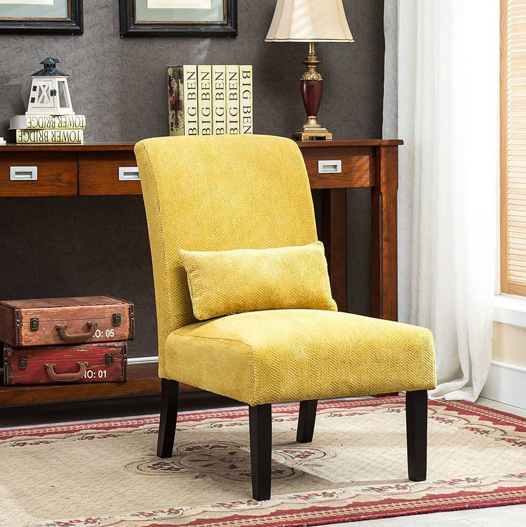 Armless contemporary yellow chair with pillow · armless yellow chair yellow furniture yellow chair yellow accent chair modern yellow