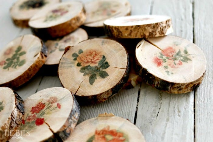 photo transfer to wood, flowers on wood slices, floral images on wood, print on wood