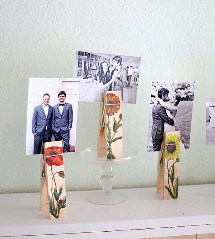floral clothespins, transfer images to wood, pictures on wood, transfer pictures to wood