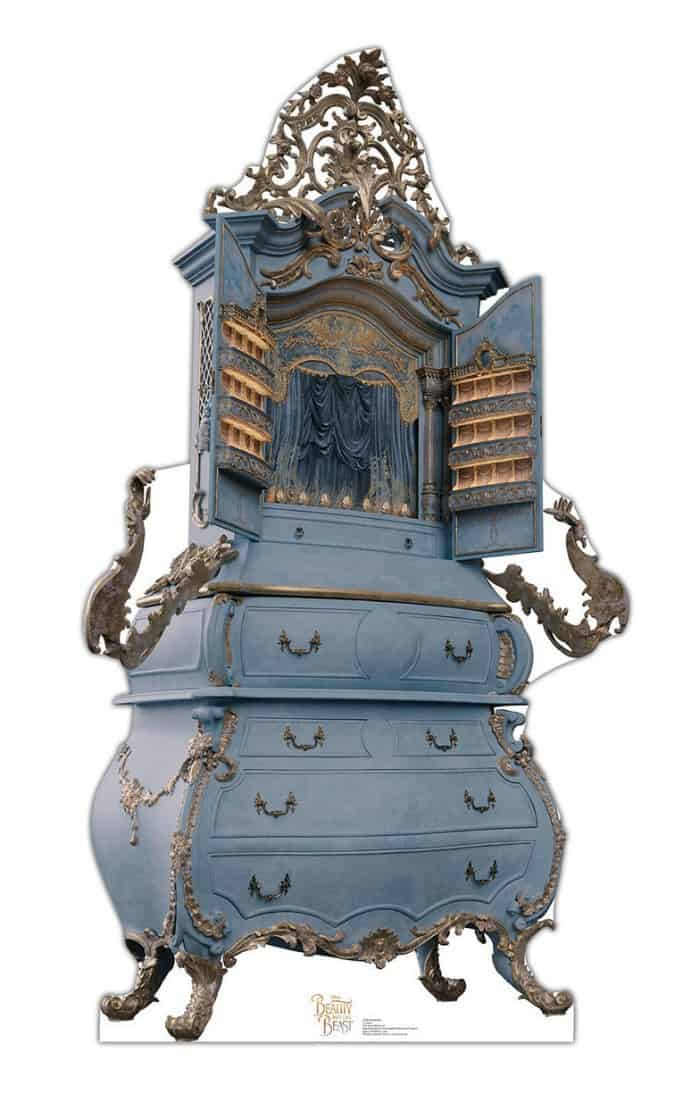 beauty and the beast furniture, blue painted bombe chest, blue and gold furniture