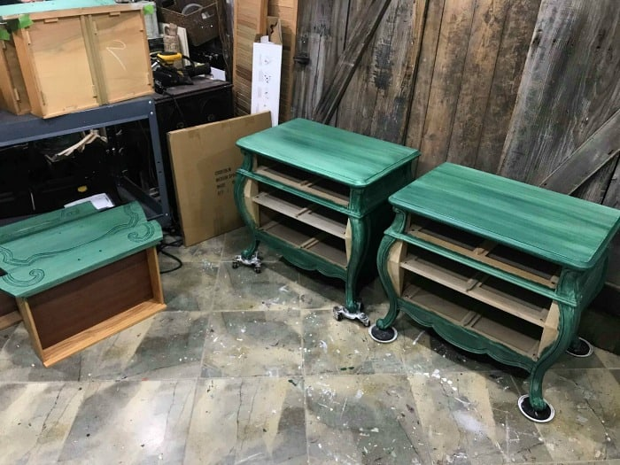 green painted bombe chests, painted bombe chests, green painted furniture, how to paint wood furniture