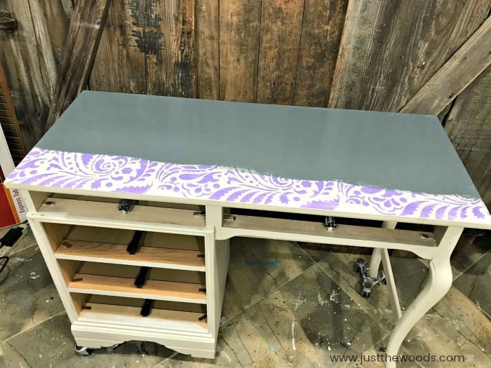 cutting edge stencils, painting over stencil, chalk paint over stencil patterns, gray chalk paint over stencil, painted desk