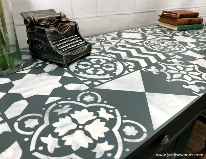 cutting edge stencils, white and gray painted furniture, desk painted with stencil, stencil for painting furniture