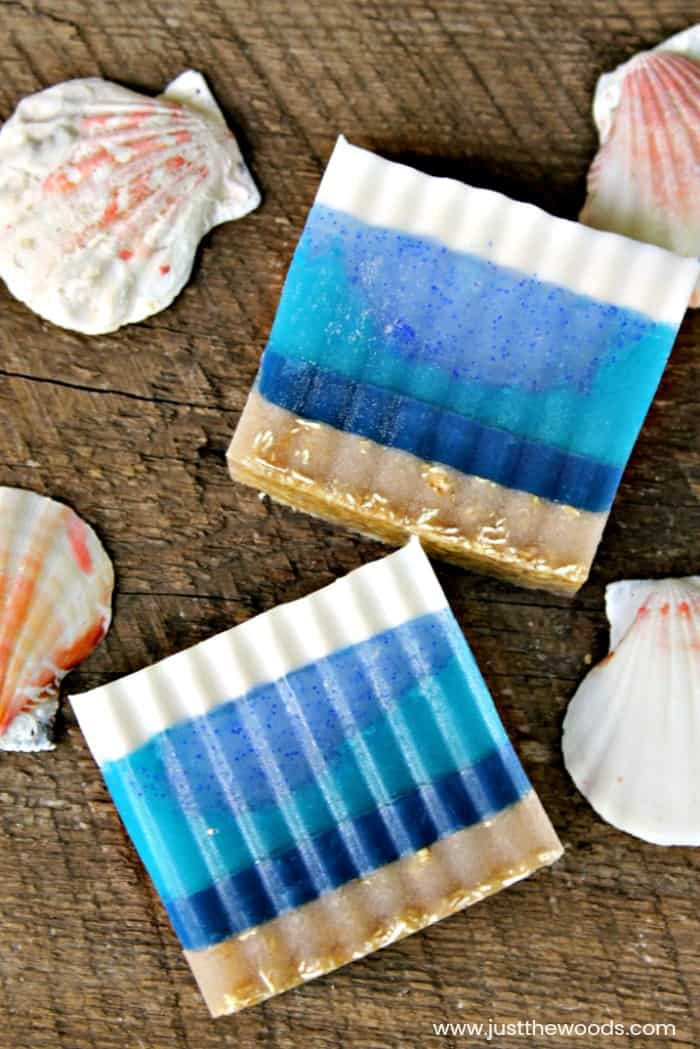 blue layered homemade soap, DIY Soap Bars, beach soap, soap with oatmeal