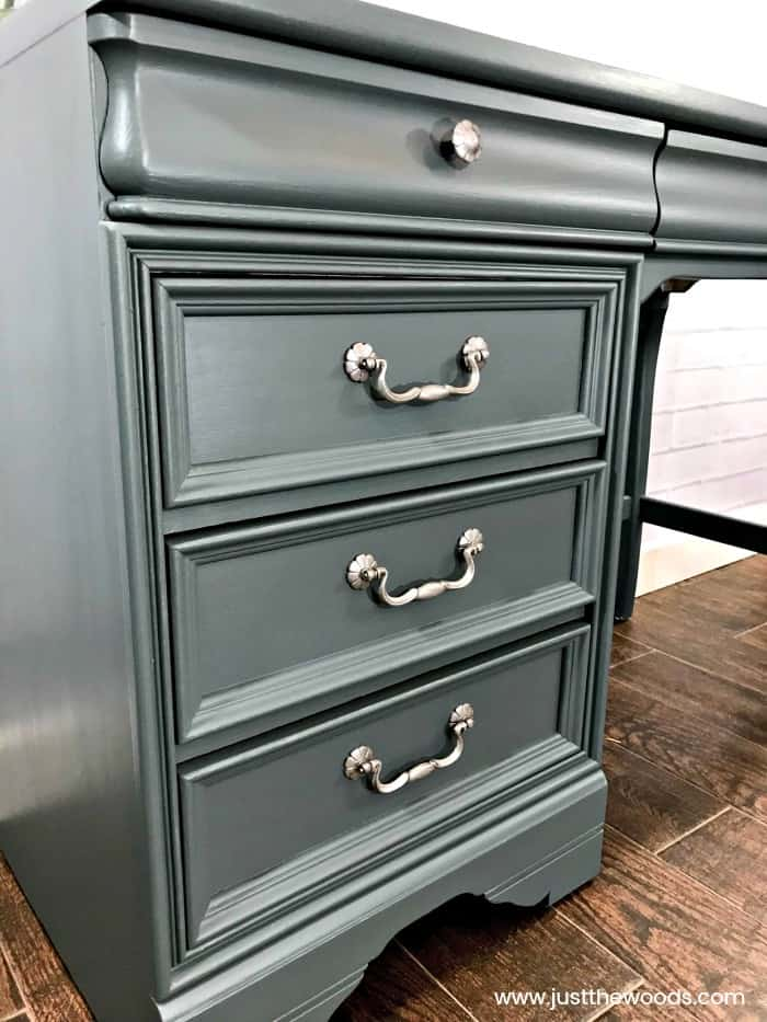 cutting edge stencils, gray painted desk, silver hardware, painted furniture, gray painted furniture ideas