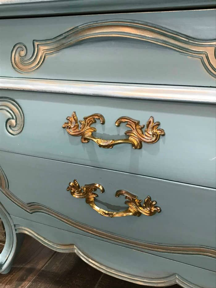 gilding wax on painted furniture, bronze gilding wax on painted furniture, blue and gold painted furniture