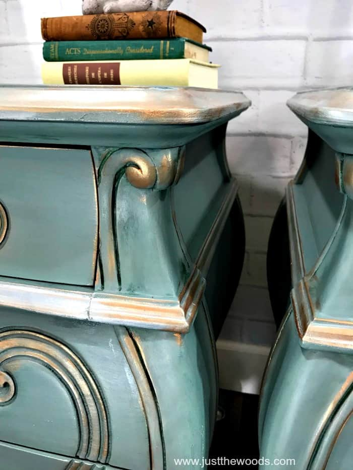 metallic painted furniture, painted bombe chest, beauty and the beast furniture ideas, blue green painted furniture, metallic trim on painted furniture, how to paint wood furniture