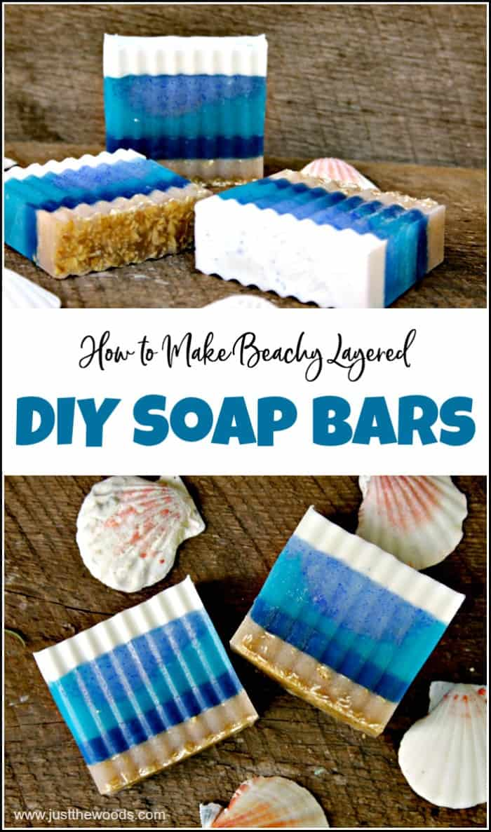 See how to make soap at home with these layered soap recipes. Soap making is fun and easy with these beach inspired DIY soap bars in pretty blue layers. #diysoapbars #howtomakesoap #soapmaking #homemadesoap #howtomakesoapathome #diysoap #makeyourownsoap #layeredsoap #essentialoilssoap