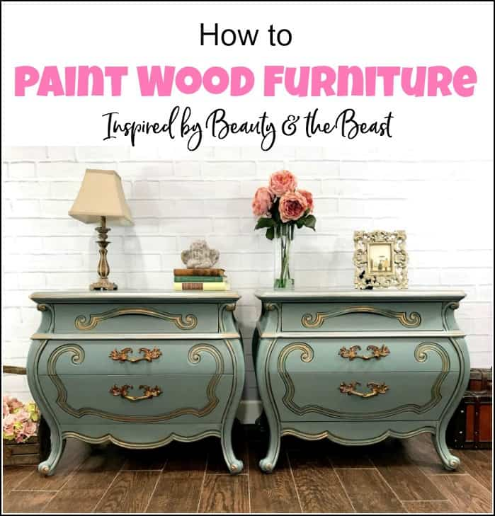Learn how to paint wood furniture using multiple furniture painting techniques. Painting wood furniture to create beautiful results on these bombe chests. #paintedfurniture #paintwoodfurniture #howtopaintfurniture #furniturepainting #refinishfurniture #paintedbombechests #inspiredbybeautyandthebeast